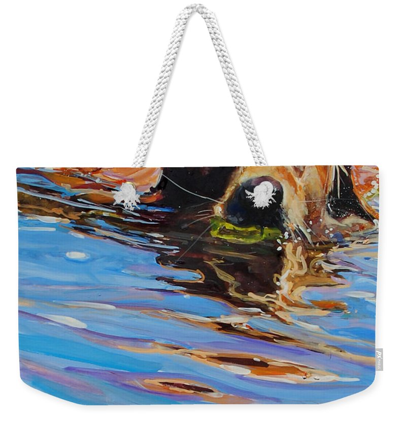 Golden Retriever Weekender Tote Bag featuring the painting Sadie Has A Ball by Molly Poole