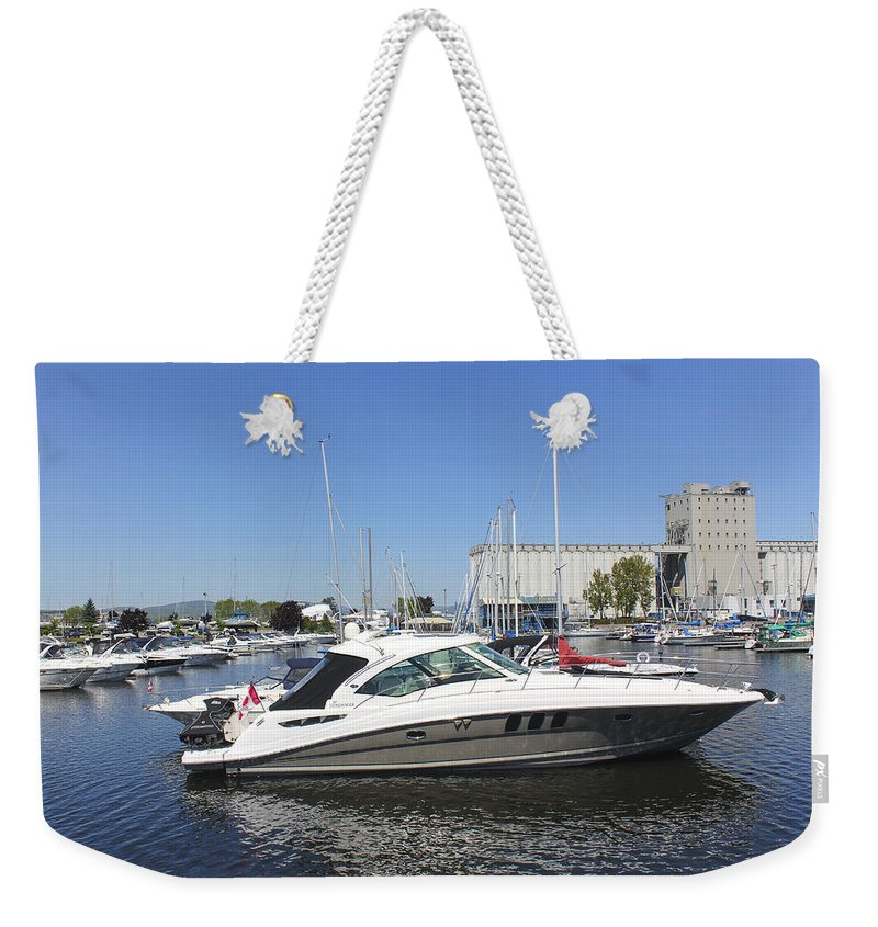 Boats Weekender Tote Bag featuring the photograph Safe Harbor Series 02 by Carlos Diaz