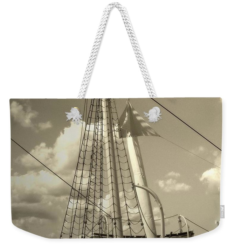 Sailboat Weekender Tote Bag featuring the photograph Safe Harbor At Sunset by RC DeWinter