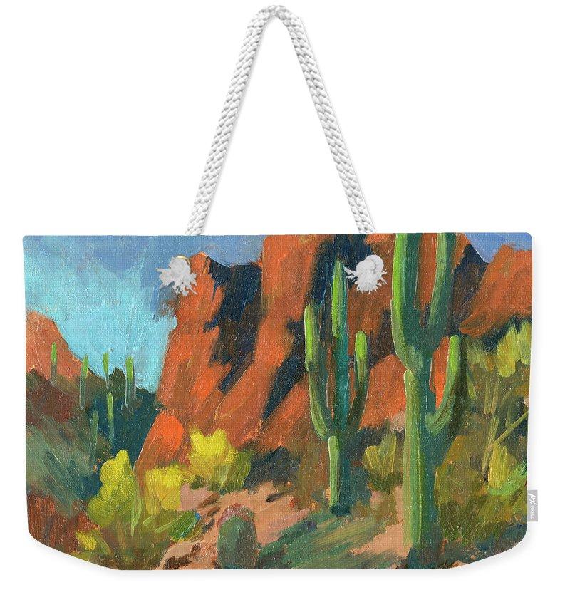 Saguaro Cactus Weekender Tote Bag featuring the painting Saguaro Cactus 1 by Diane McClary