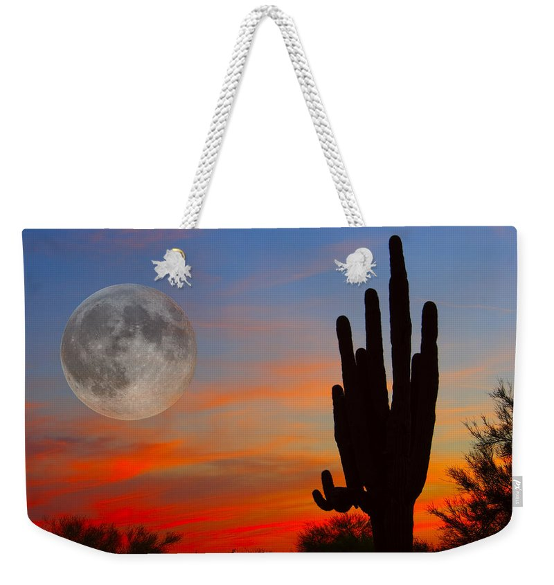Sunrise Weekender Tote Bag featuring the photograph Saguaro Full Moon Sunset by James BO Insogna