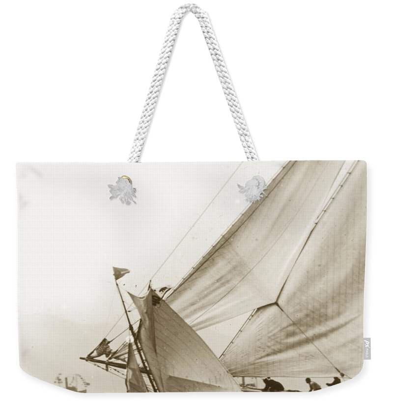 San Francisco Weekender Tote Bag featuring the photograph Sail Boats Little Anne And Virginia Collision On San Francisco Bay Circa 1886 by California Views Archives Mr Pat Hathaway Archives
