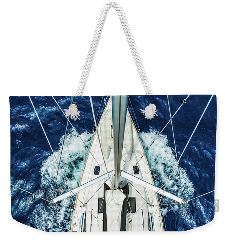 Adriatic Sea Weekender Tote Bag featuring the photograph Sailboat From Above by Mbbirdy
