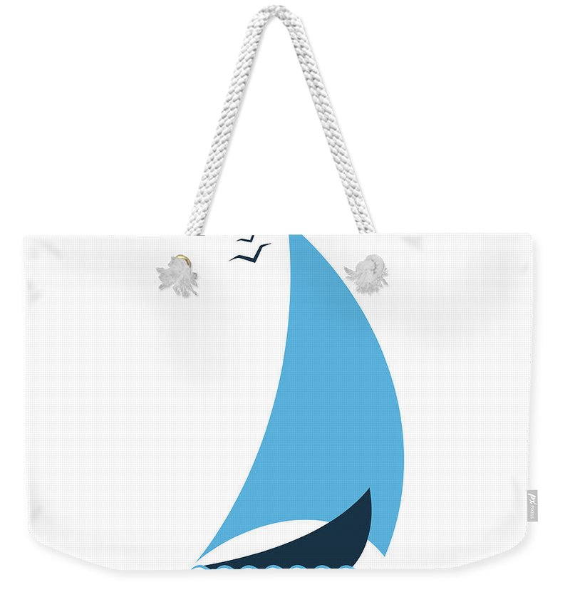 Curve Weekender Tote Bag featuring the digital art Sailboat In The Sea. Concept For The by Liubov Trapeznykova