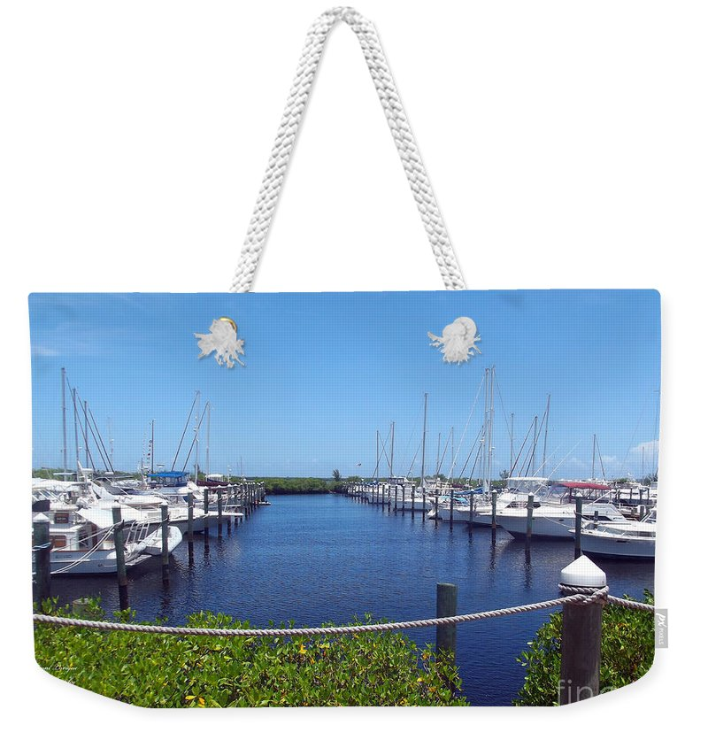 Sailboat Parking Weekender Tote Bag featuring the photograph Sailboat Parking - Ft Pierce Florida by Jennifer Lavigne