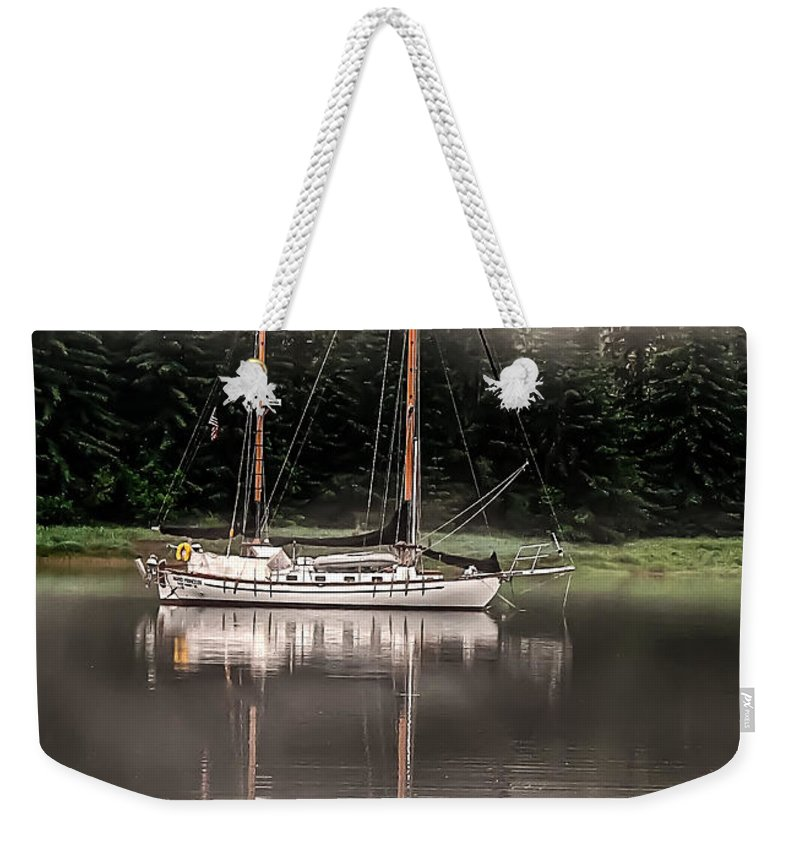 Sailboat Weekender Tote Bag featuring the photograph Sailboat Reflection by Robert Bales