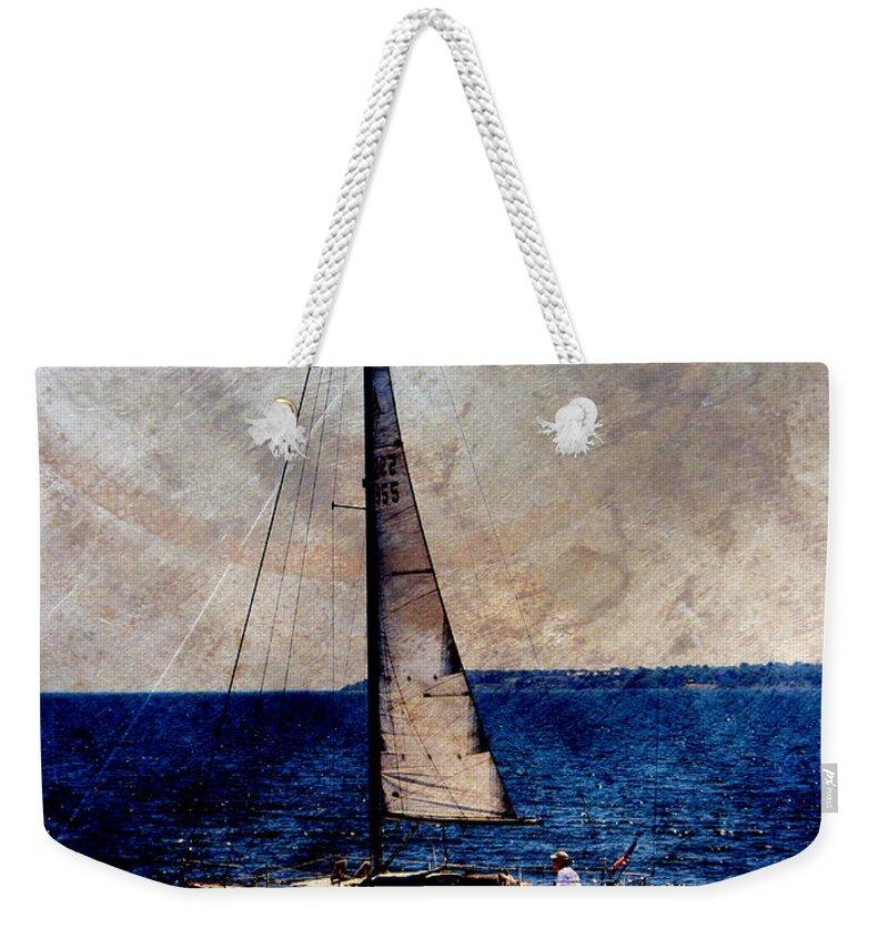 Lake Michigan Weekender Tote Bag featuring the digital art Sailboat Slow W Metal by Anita Burgermeister