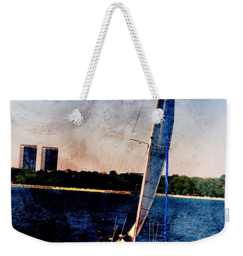 Lake Michigan Weekender Tote Bag featuring the digital art Sailboat Tilted Towers W Metal by Anita Burgermeister