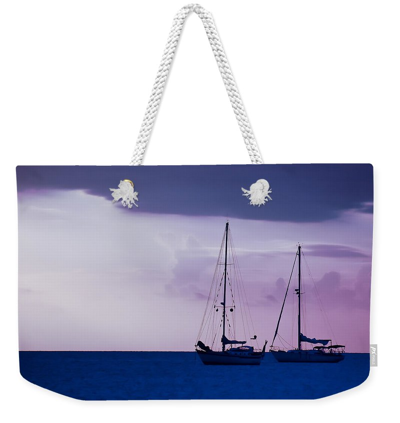 Sailboats Weekender Tote Bag featuring the photograph Sailboats At Sunset by Don Schwartz