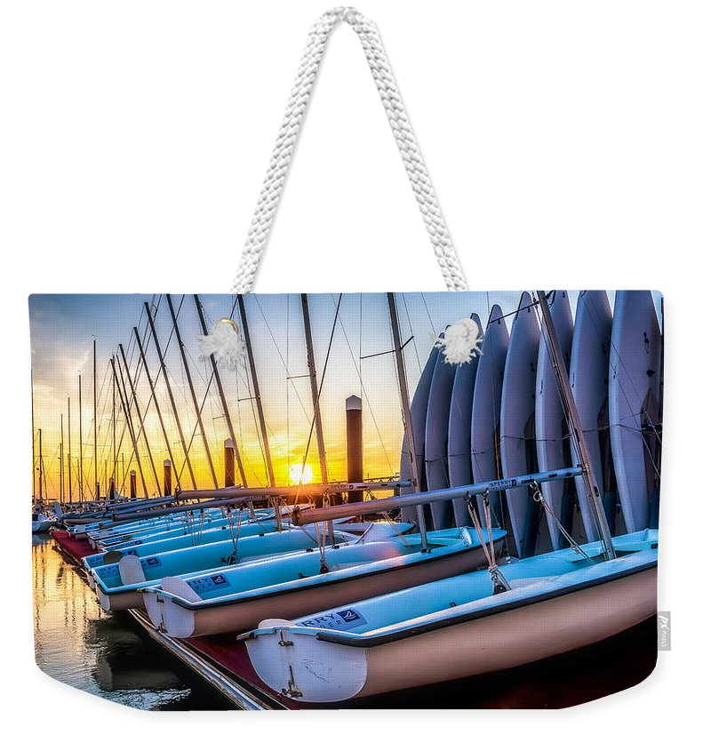 Patriots Point Marina Weekender Tote Bag featuring the photograph Sailboats by Curtis Cabana