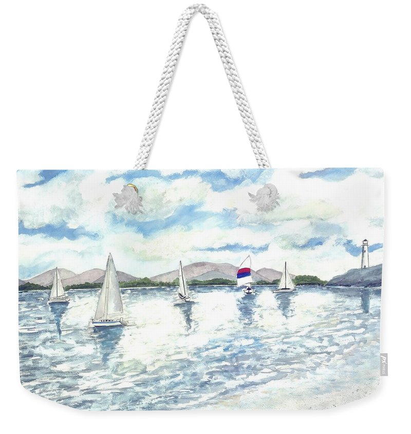 Sailboats Weekender Tote Bag featuring the painting Sailboats by Derek Mccrea