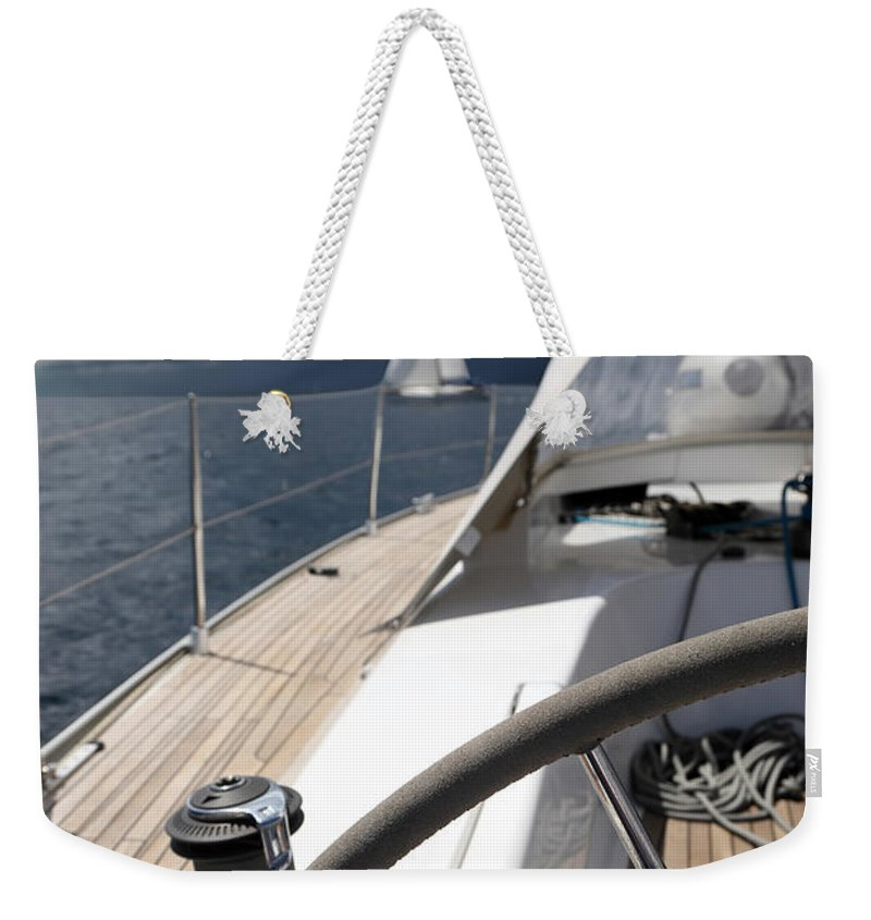 Adriatic Sea Weekender Tote Bag featuring the photograph Sailboats In Mediterranean Sea by Vuk8691