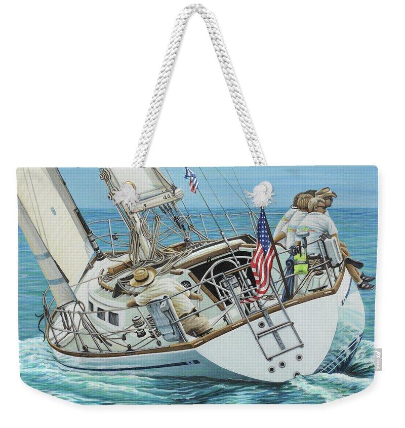 Ocean Weekender Tote Bag featuring the painting Sailing Away by Jane Girardot