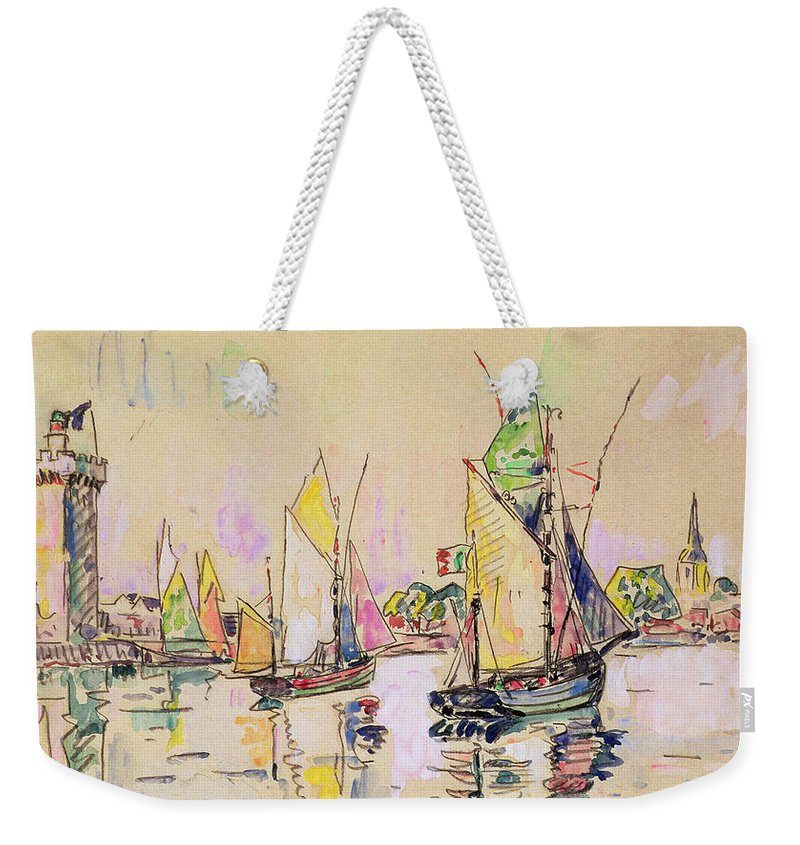 Voiliers; Sailboats; Boats; Boat; Vendee; Port; Harbour; Boating Weekender Tote Bag featuring the painting Sailing Boats At Les Sables D Olonne by Paul Signac