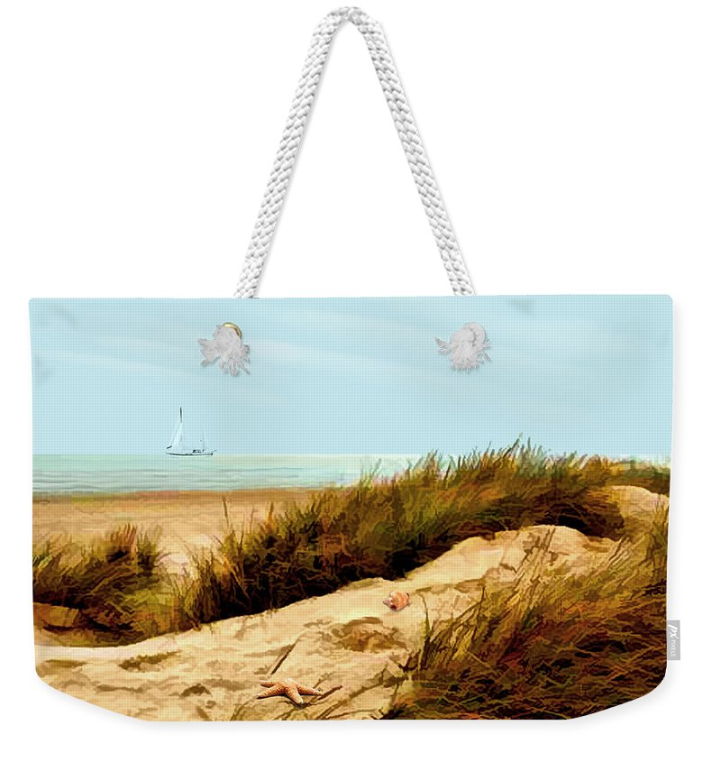 Ocean Weekender Tote Bag featuring the painting Sailing By Sand Dune by Elaine Plesser