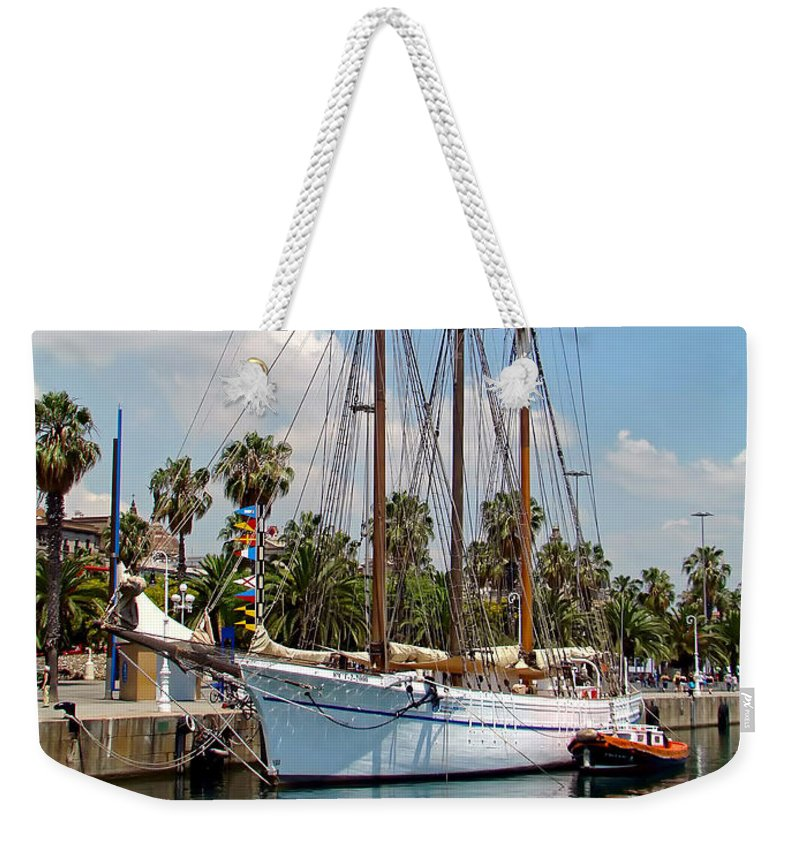 Ship Weekender Tote Bag featuring the photograph Sailing In Barcelona by Sue Melvin