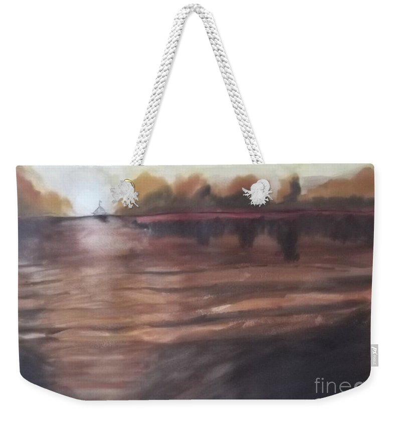 Abstract Weekender Tote Bag featuring the painting Sailing In To The Sunset by John Williams