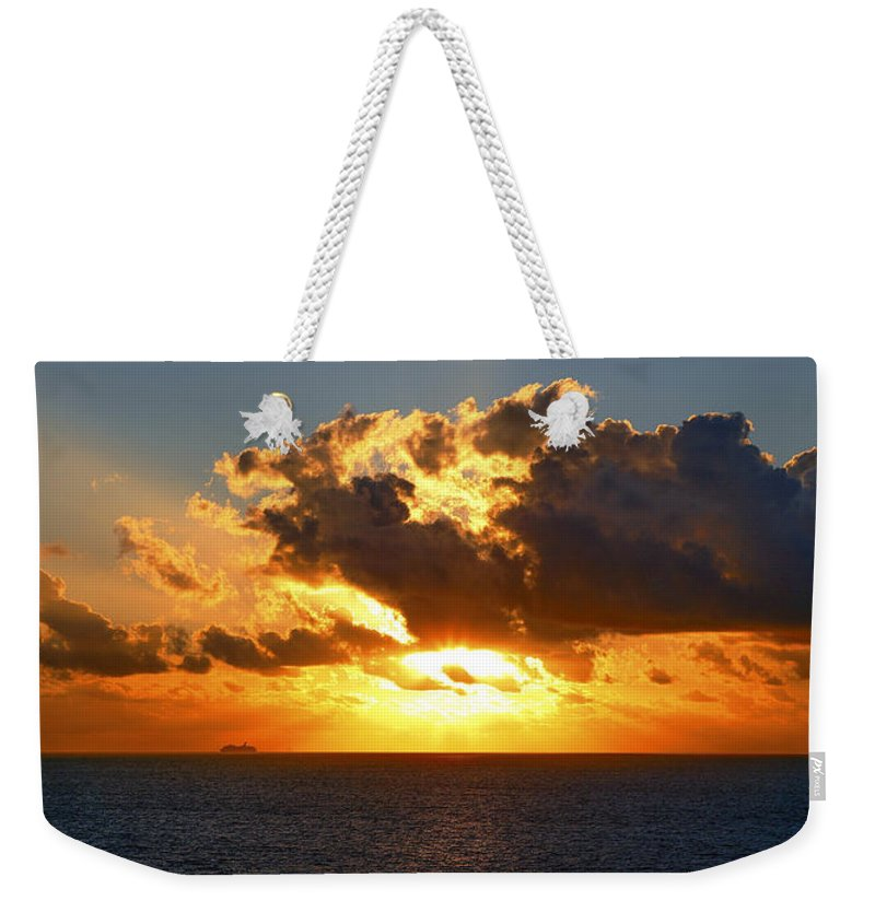 Atlantic Ocean Weekender Tote Bag featuring the photograph Sailing Into The Sunrise by Eric Swan