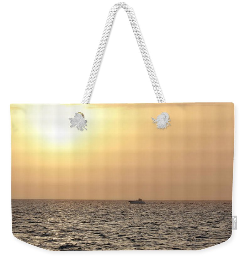 Sunset Weekender Tote Bag featuring the photograph Sailing Into The Sunset by Melanie Lankford Photography
