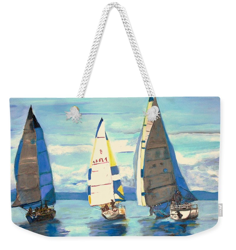 Seascape Weekender Tote Bag featuring the painting Sailing Regatta At Port Hardy by Teresa Dominici