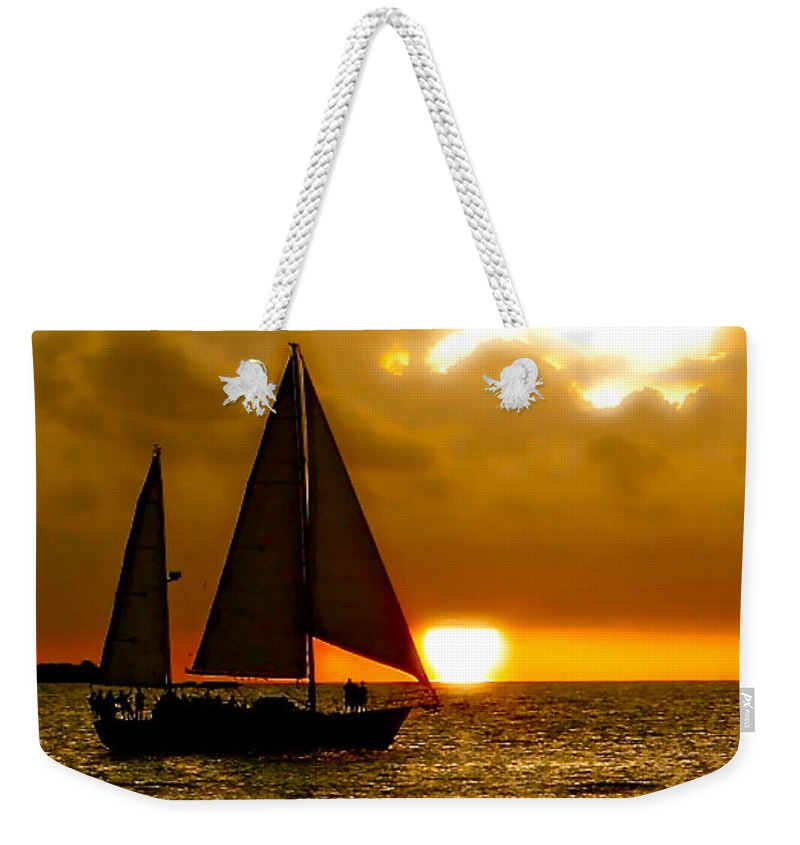 Key West Weekender Tote Bag featuring the photograph Sailing The Keys by Iconic Images Art Gallery David Pucciarelli