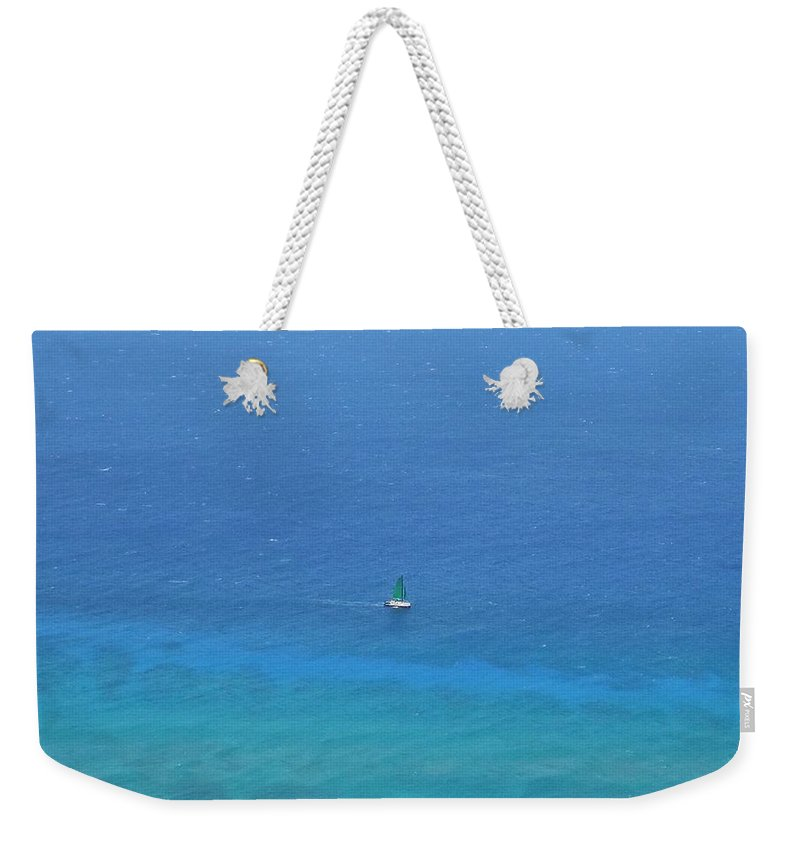 Oahu Weekender Tote Bag featuring the photograph Sailing The Ocean Blue by Mike Niday