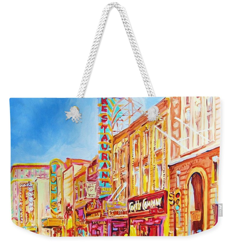 Paintings Of Montreal Weekender Tote Bag featuring the painting Saint Catherine Street Montreal by Carole Spandau