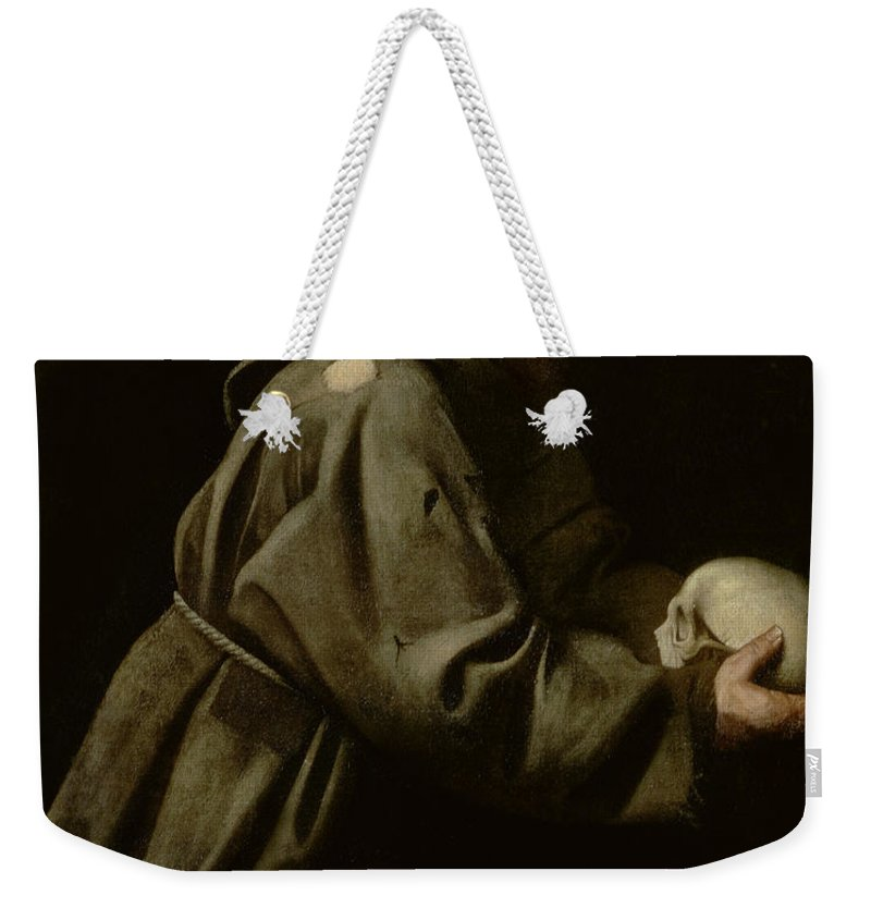 Monk Weekender Tote Bag featuring the painting Saint Francis In Meditation by Michelangelo Merisi da Caravaggio