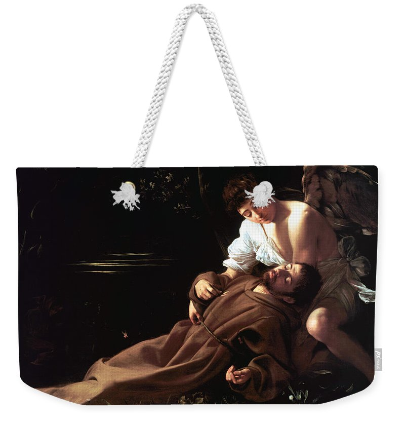 Caravaggio Weekender Tote Bag featuring the digital art Saint Francis Of Assisi In Ecstasy by Caravaggio