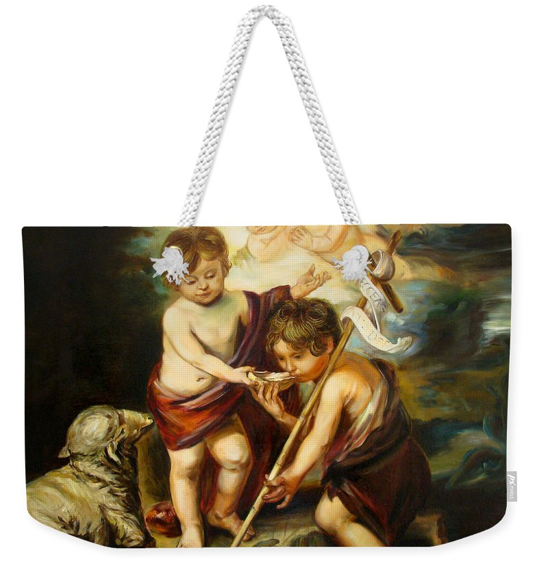 Classic Art Weekender Tote Bag featuring the painting Saint John Baptist by Silvana Abel