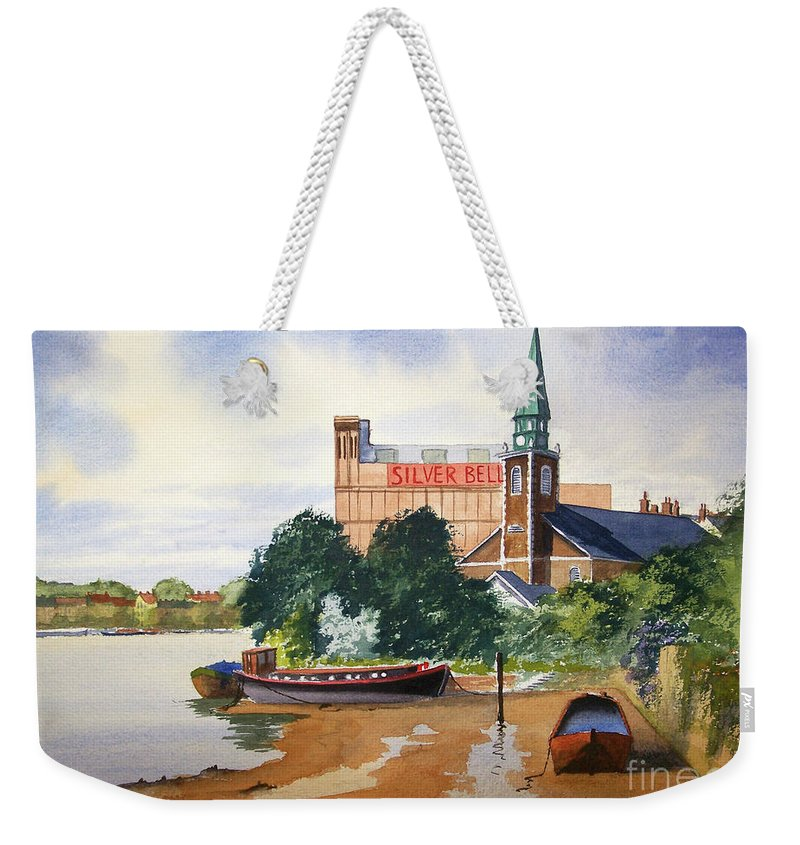 St Mary's Weekender Tote Bag featuring the painting Saint Mary's Church Battersea London by Bill Holkham