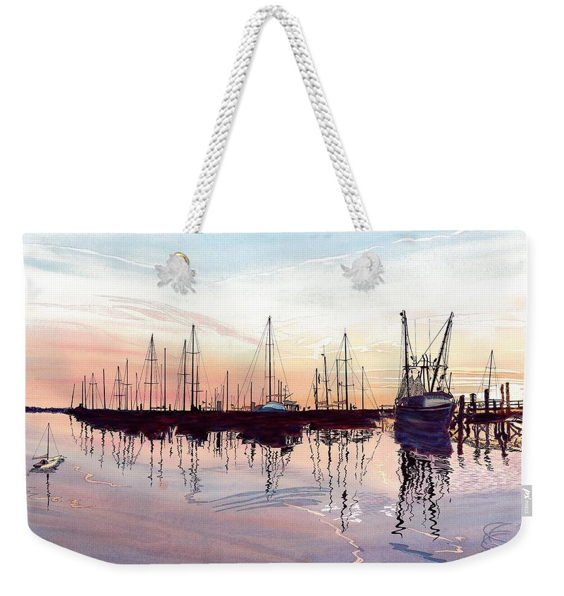 Fiery Sunset Weekender Tote Bag featuring the painting Saint Marys Marina  Shadows Light And Fire by Joel Deutsch
