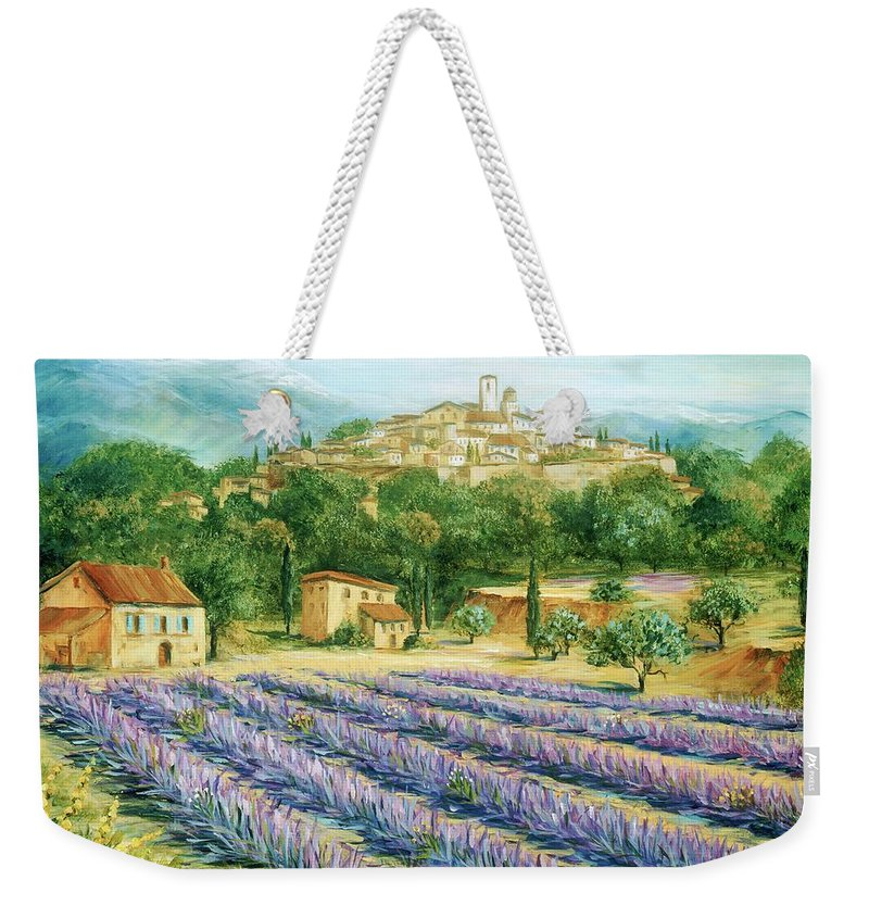 Europe Weekender Tote Bag featuring the painting Saint Paul De Vence And Lavender by Marilyn Dunlap