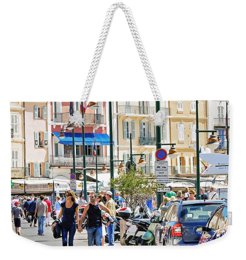 Mediterranean Weekender Tote Bag featuring the photograph Saint Tropez Stroll by Keith Armstrong
