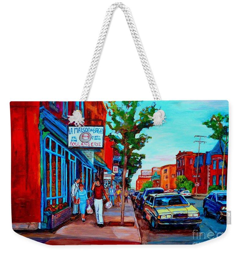 St.viateur Bagel Shop Weekender Tote Bag featuring the painting Saint Viateur Bagel Shop by Carole Spandau
