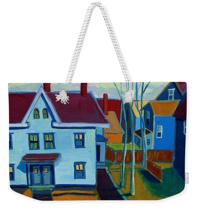 City Scene Weekender Tote Bag featuring the painting Saints Memorial View by Debra Bretton Robinson