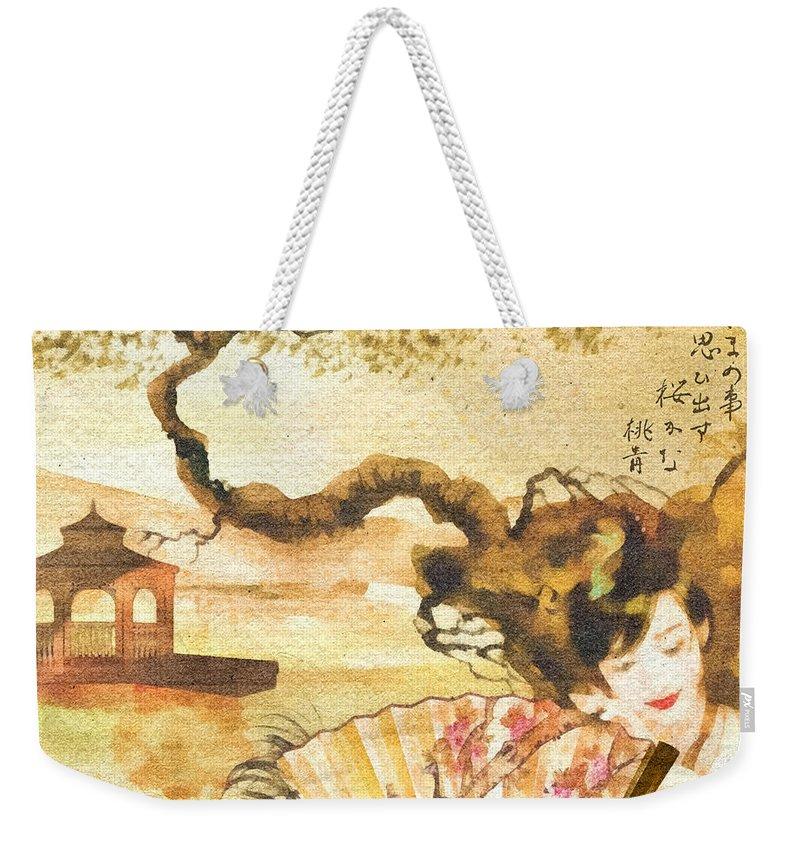 Sakura Weekender Tote Bag featuring the painting Sakura by Mo T