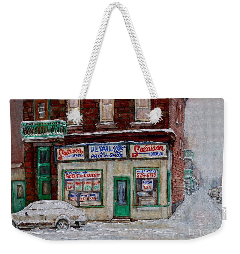 Montreal Weekender Tote Bag featuring the painting Salaison Ideale Montreal by Carole Spandau