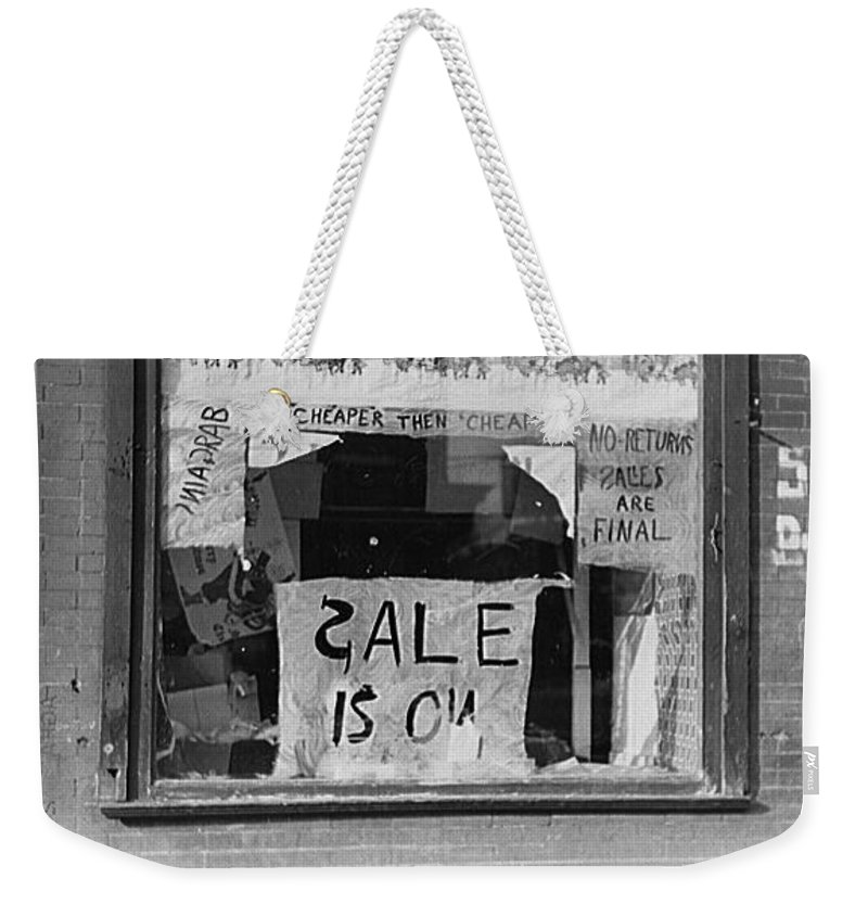 Sale Is On Weekender Tote Bag featuring the photograph Sale Is On by Bill Cannon