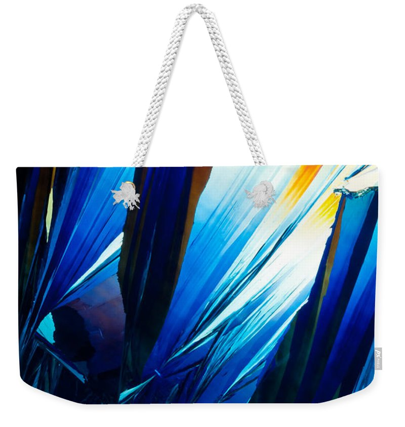 Abstract Weekender Tote Bag featuring the photograph Salicylic Acid Crystals In Polarized Light by Stephan Pietzko