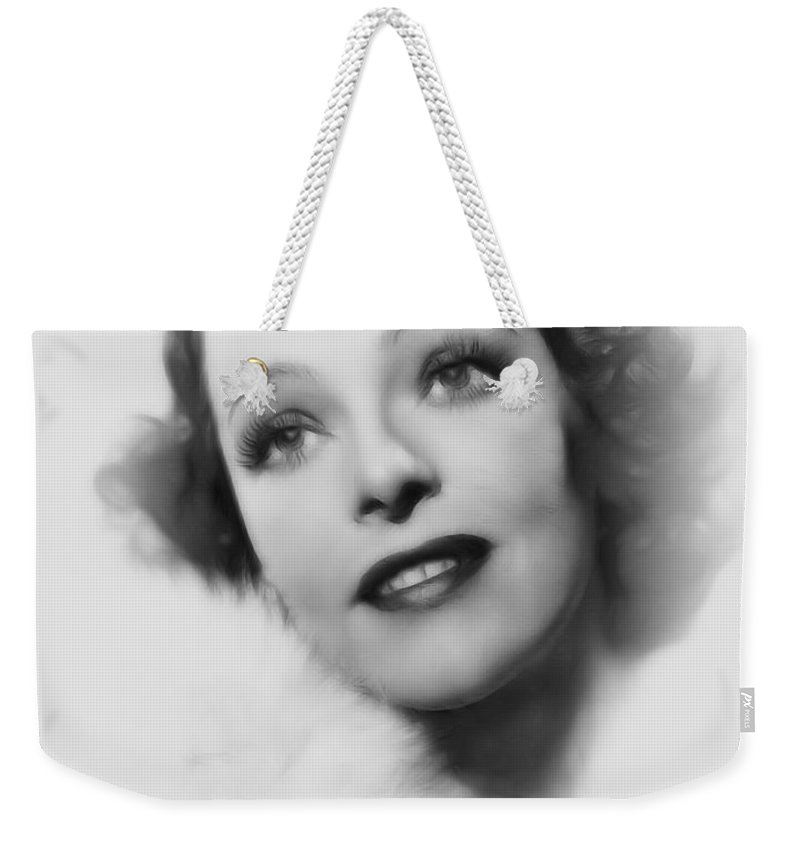 Sally Blane Actress Woman Girl Female Beauty Sensual Erotic Face Portrait Pencil Drawing Weekender Tote Bag featuring the painting Sally Blane Pencil by Steve K