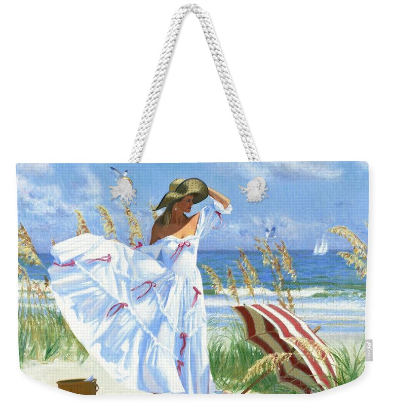 Woman On Beach Weekender Tote Bag featuring the painting Salt Aire Blues by Candace Lovely