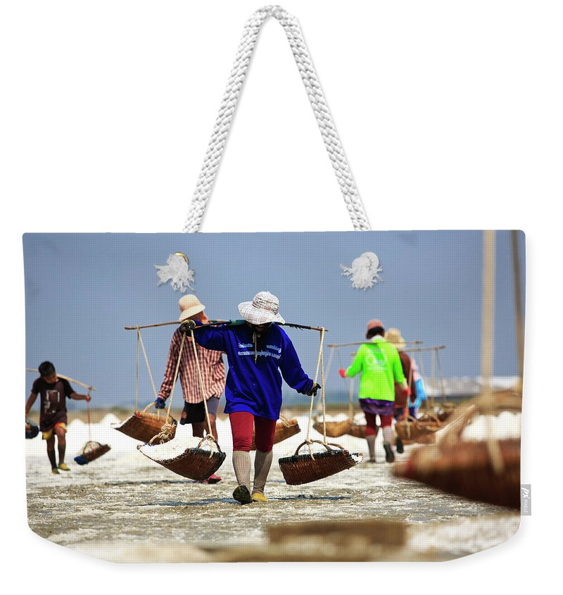Child Weekender Tote Bag featuring the photograph Salt Farm In Thailand by Monthon Wa