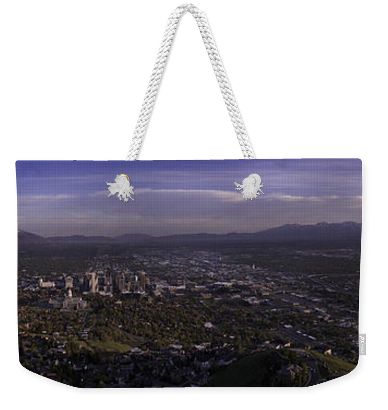 Architecture Weekender Tote Bag featuring the photograph Salt Lake Valley by Chad Dutson