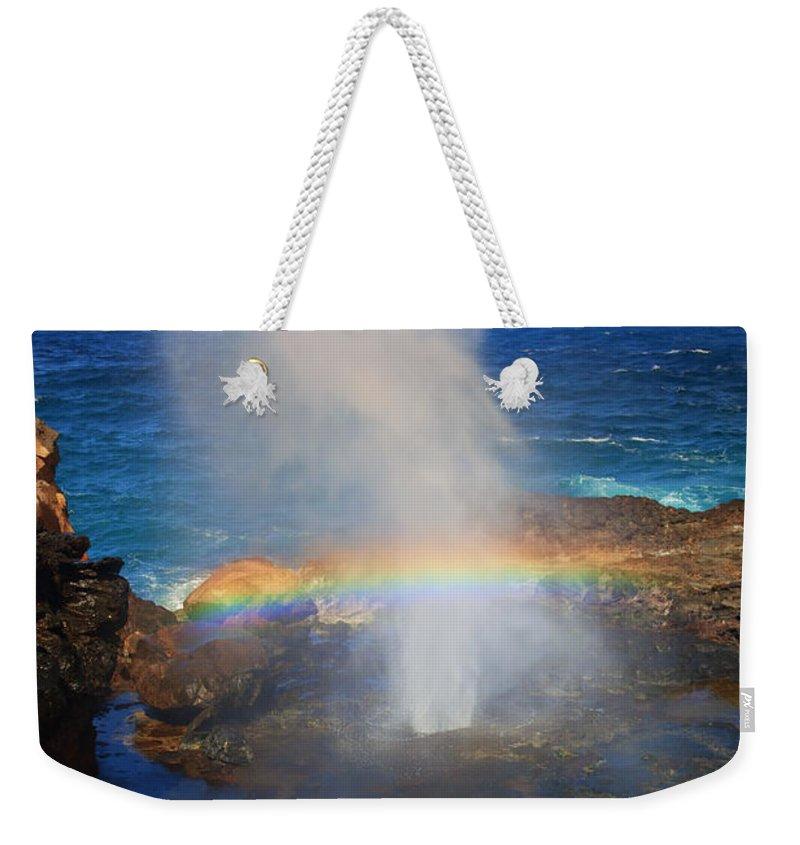 Rainbow Weekender Tote Bag featuring the photograph Salt Spray Rainbow by Mike Dawson