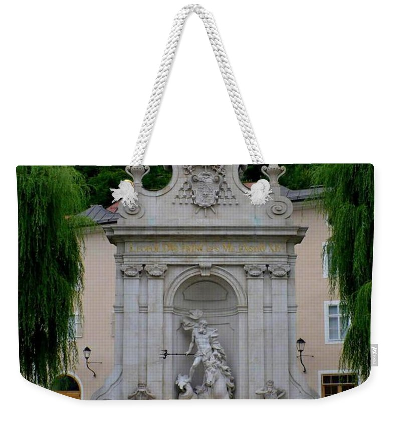 Salzburg Weekender Tote Bag featuring the photograph Salzburg Castle With Fountain by Carol Groenen