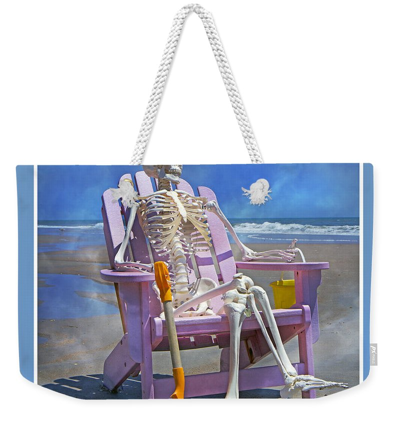 Skeleton Weekender Tote Bag featuring the photograph Sam Enjoys The Beach -- Again by Betsy Knapp