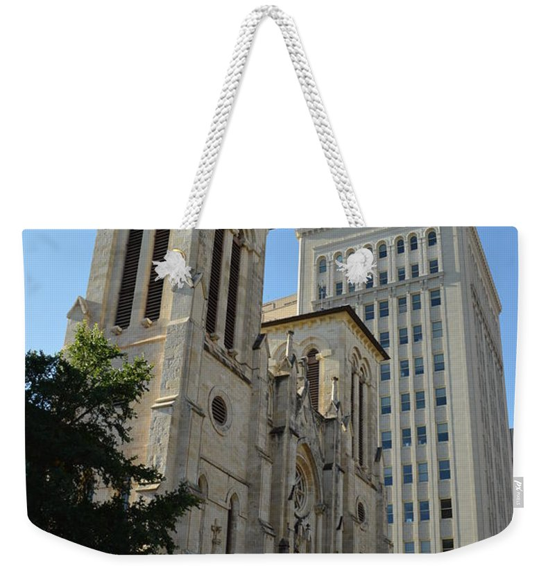 Architecture Weekender Tote Bag featuring the photograph San Antonio Church 04 by Shawn Marlow