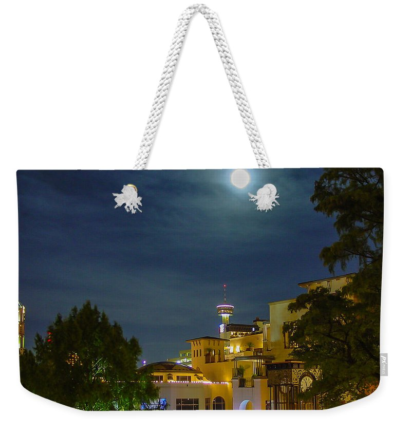 San Antonio Weekender Tote Bag featuring the photograph San Antonio Cityscape by Allen Sheffield