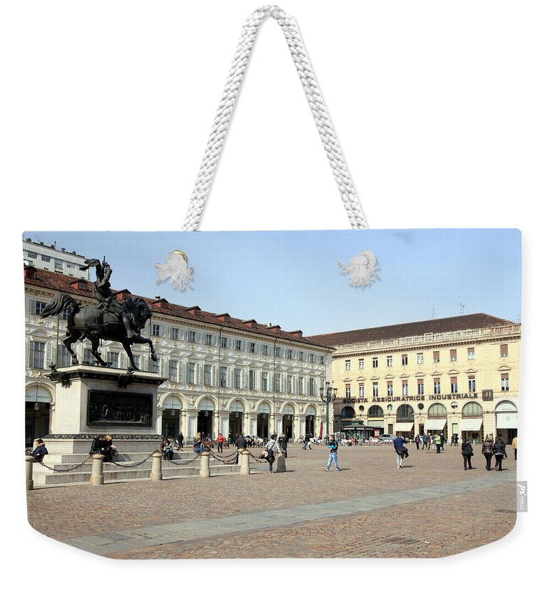 Piazza Weekender Tote Bag featuring the photograph San Carlo Square In Turin by Valentino Visentini